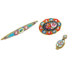 Petite Collection of Three Vintage Micro Mosaic Jewelry Millefiori Venice, Italy
