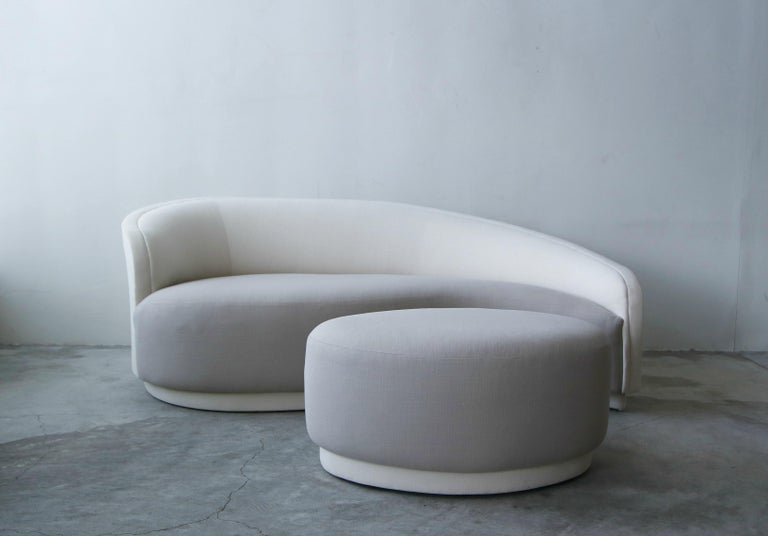 Petite sofa and matching ottoman by Vladimir Kagan for Weiman. Perfect for that small space that needs that piece to make a big statement. Gorgeous, simple lines.