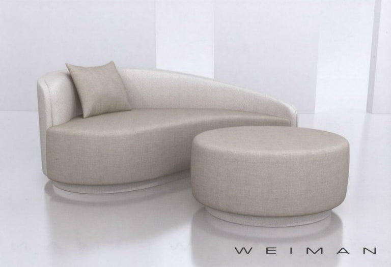 20th Century Petite Curved Sofa and Ottoman by Vladimir Kagan for Weiman For Sale
