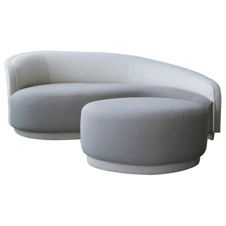 Petite Curved Sofa and Ottoman by Vladimir Kagan for Weiman For Sale