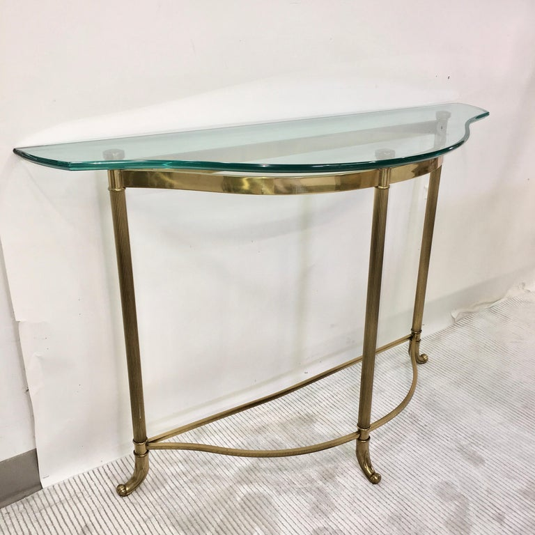 Petite Demilune Brass Console Table For Sale 9