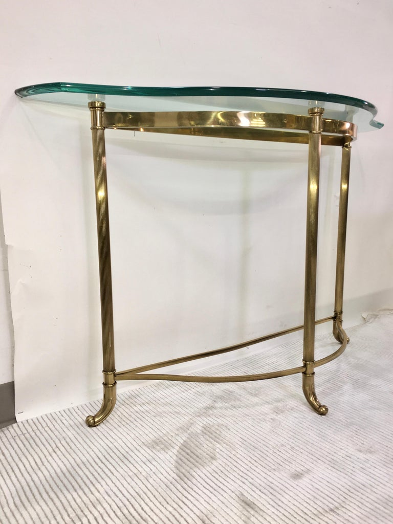 Petite Demilune Brass Console Table For Sale 10