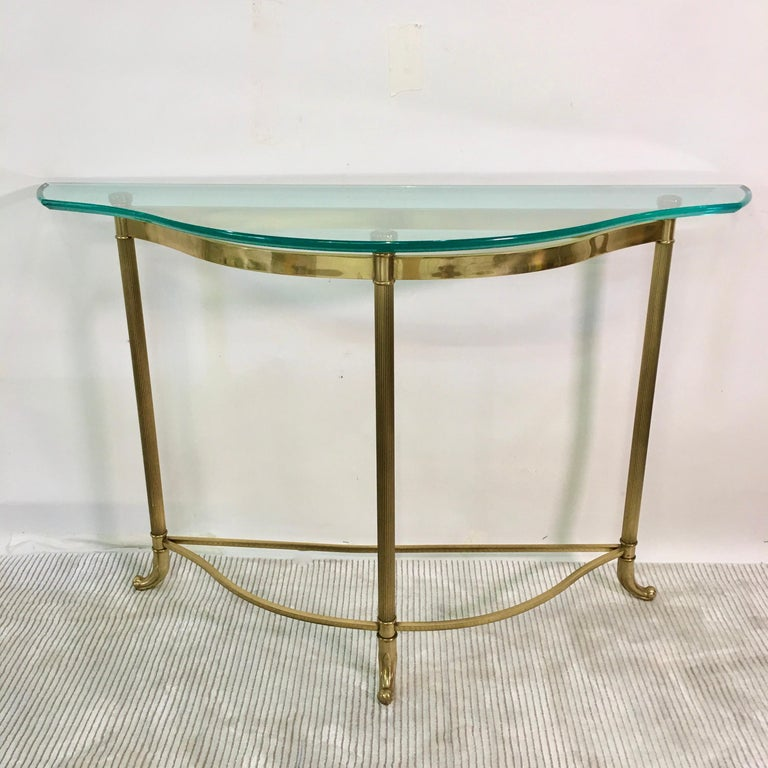 Petite Demilune Brass Console Table For Sale 11