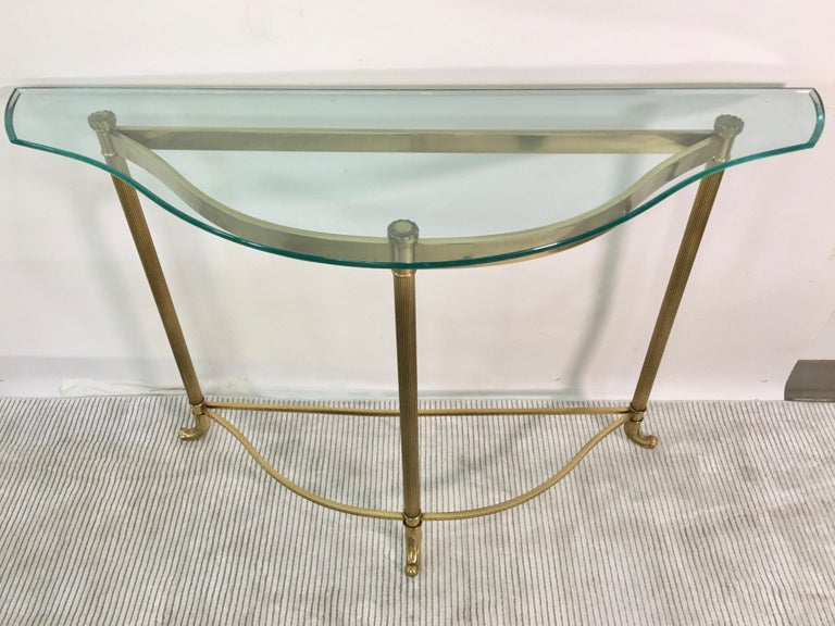 Nicely scaled narrow console table in the shape of Cupid's bow. 