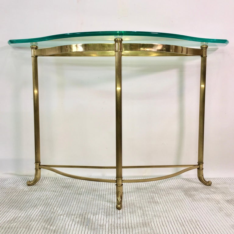 Mid-Century Modern Petite Demilune Brass Console Table For Sale