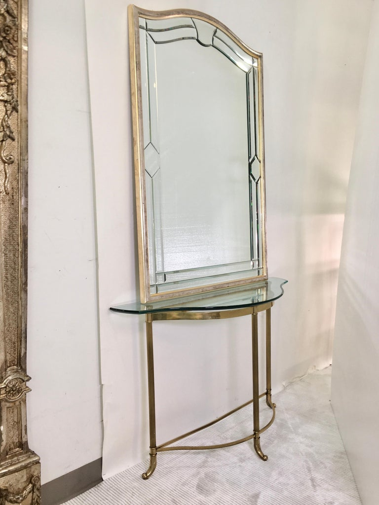 Italian Petite Demilune Brass Console Table For Sale