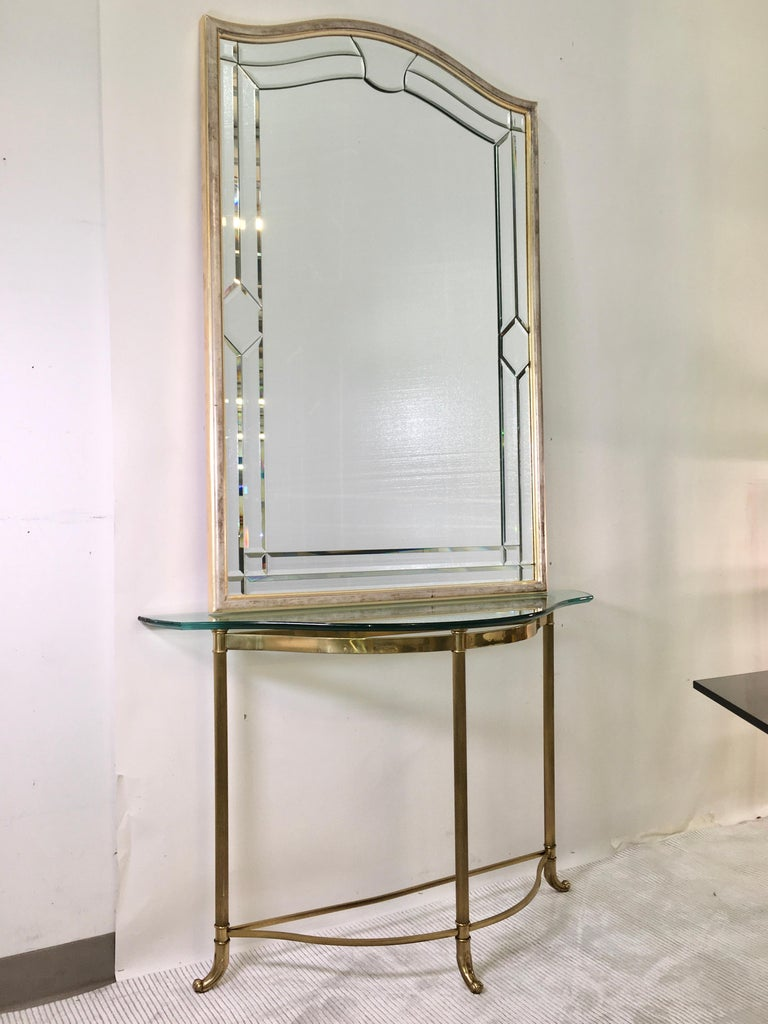 Anodized Petite Demilune Brass Console Table For Sale