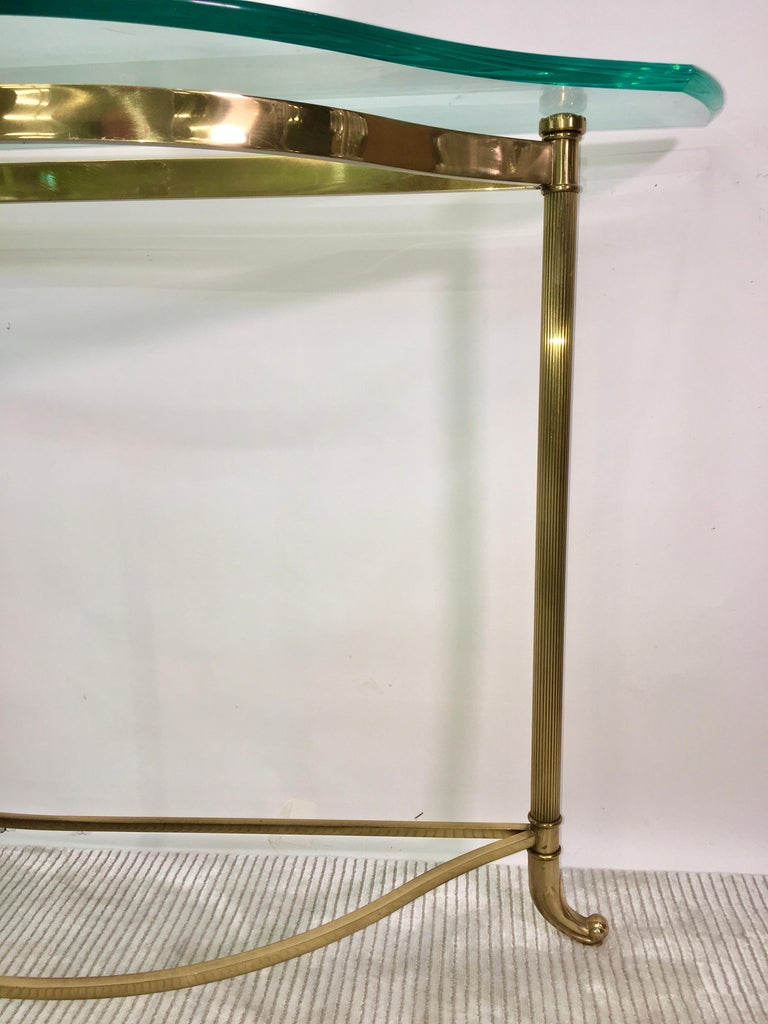 Late 20th Century Petite Demilune Brass Console Table For Sale