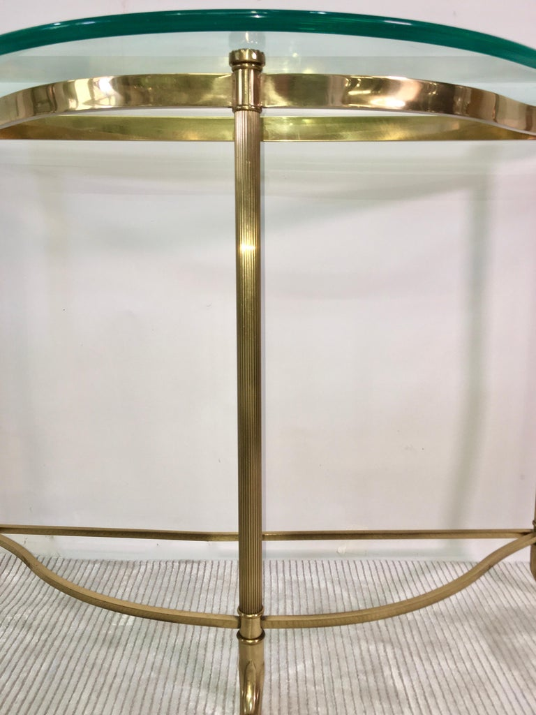 Aluminum Petite Demilune Brass Console Table For Sale