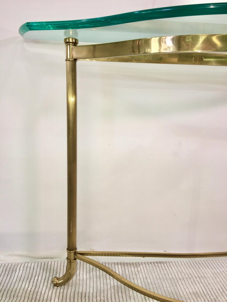 Petite Demilune Brass Console Table For Sale 1