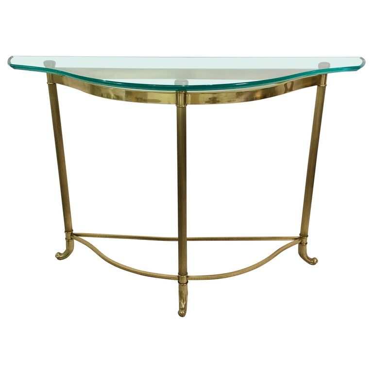 Petite Demilune Brass Console Table For Sale