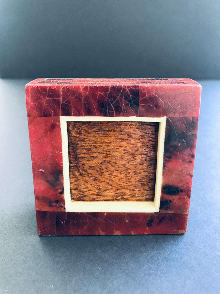 Petite Dual Picture Frame in Exotic Pen-Shell and Bone by R&Y Augousti For Sale 4