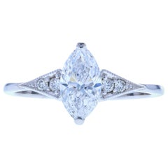 Petite Edwardian Marquise Diamond Engagement Ring with Milgrain
