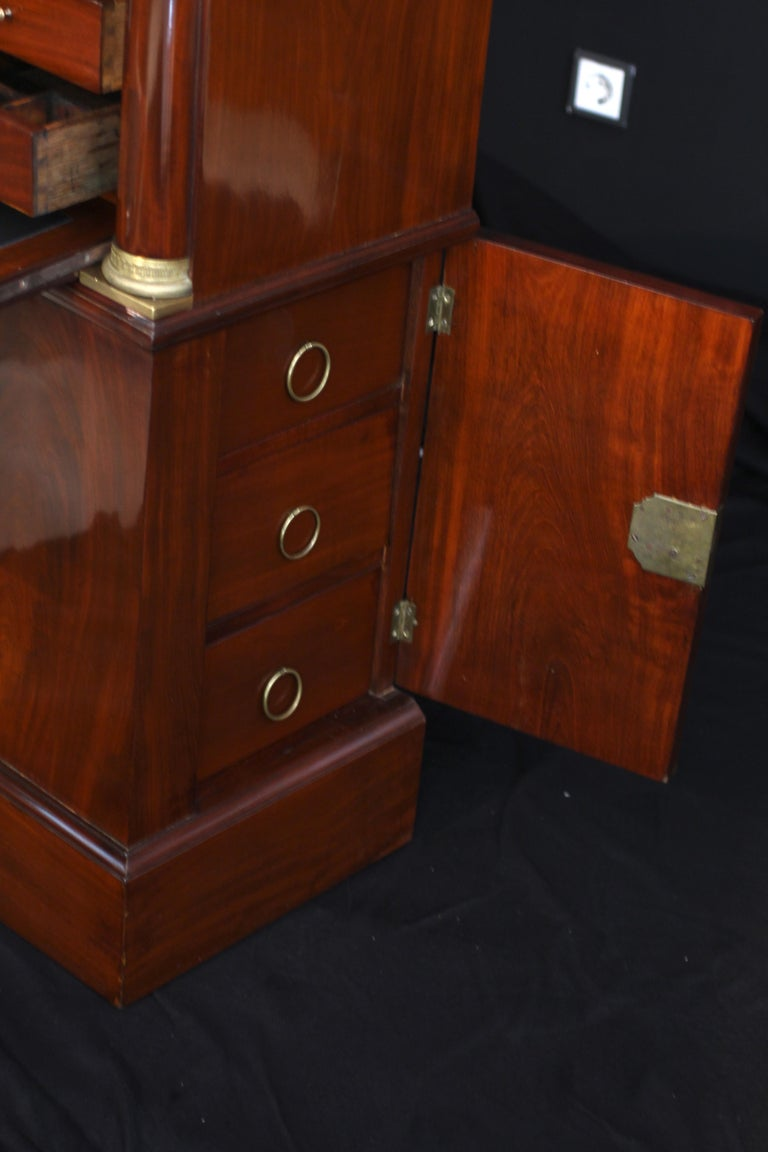 Small Empire Secretaire with Side Drawers, Mahogany, Bronzes, France circa 1815 For Sale 9