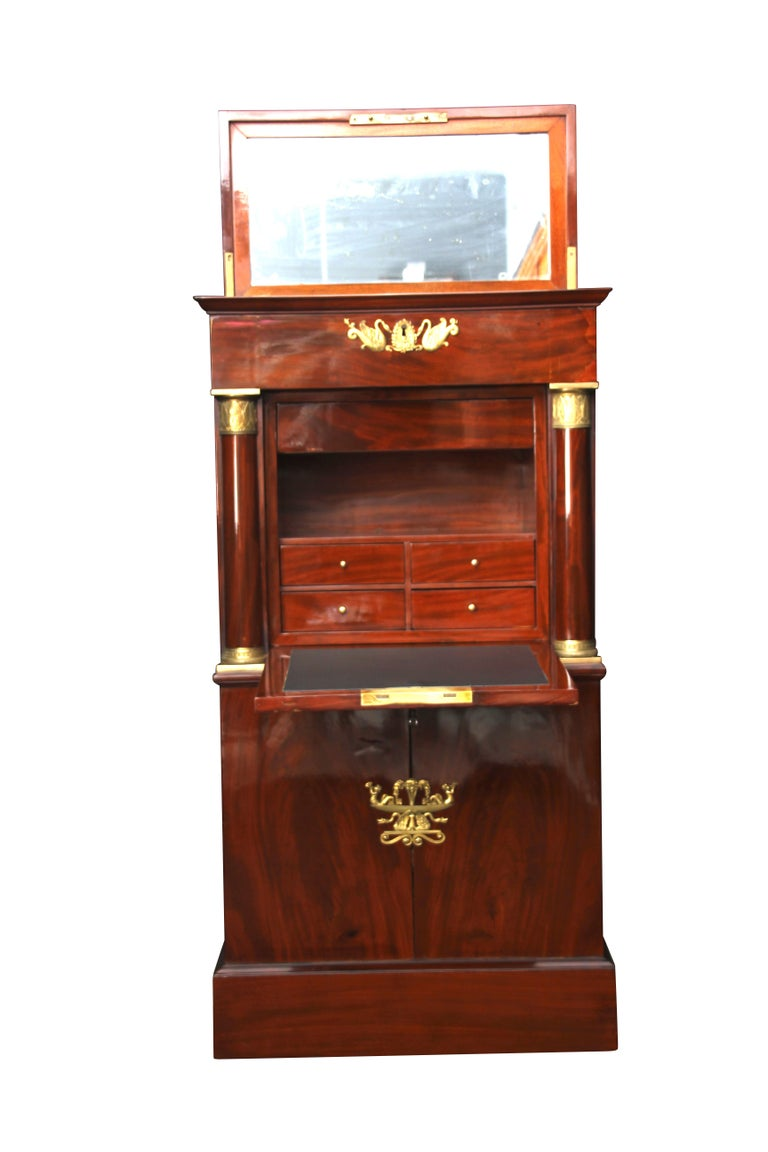 Metalwork Museal Mahogany Empire Secretaire, Side Drawers, Bronzes, France circa 1815 For Sale