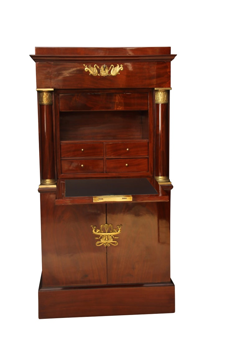French Museal Mahogany Empire Secretaire, Side Drawers, Bronzes, France circa 1815 For Sale