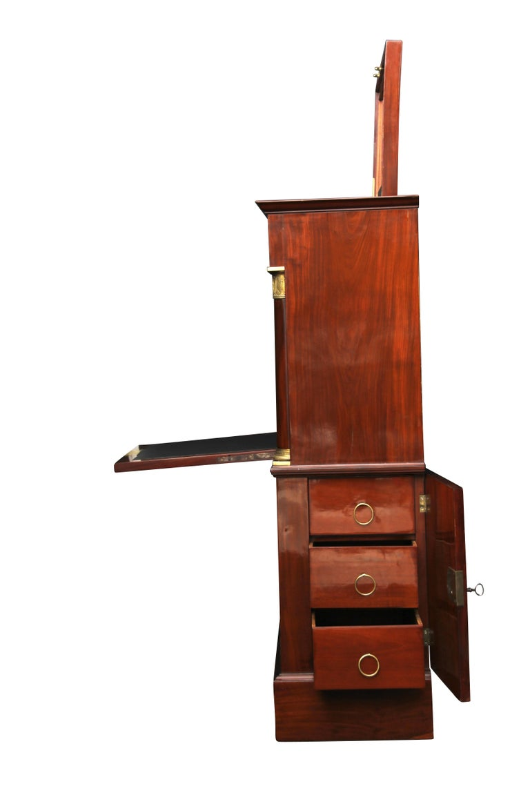 19th Century Museal Mahogany Empire Secretaire, Side Drawers, Bronzes, France circa 1815 For Sale