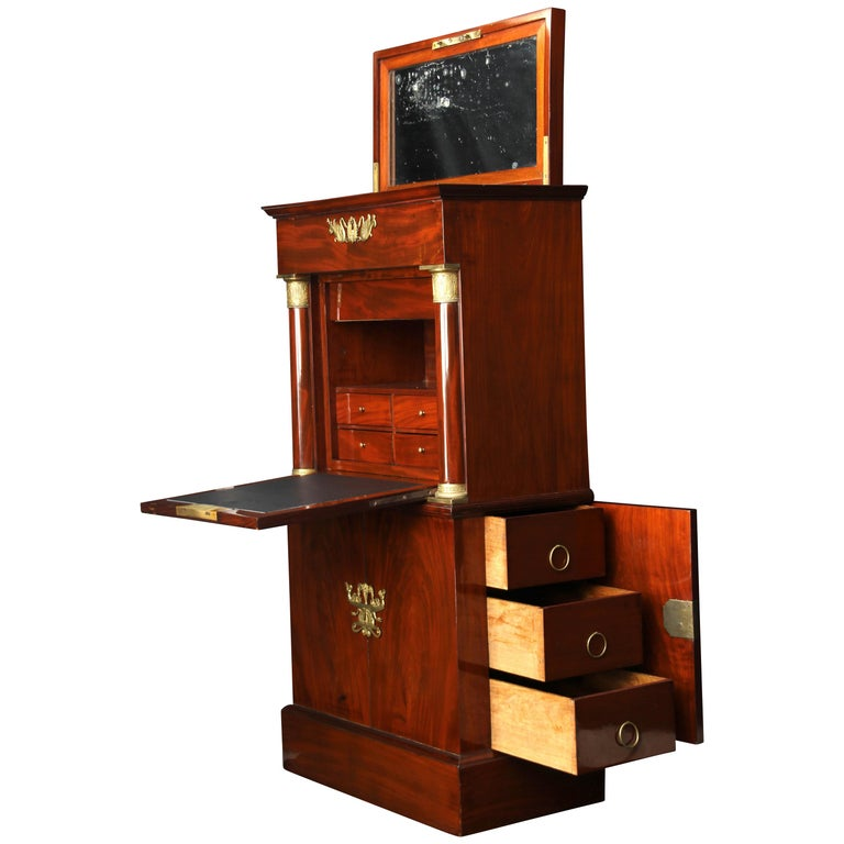 Small Empire Secretaire with Side Drawers, Mahogany, Bronzes, France circa 1815 For Sale