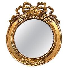 Petite Empire Style Gilded Tole Toleware Vanity Mirror Vintage, Italy, 1970s