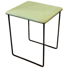 Petite Enameled Top Atomic Age Table with Iron Base