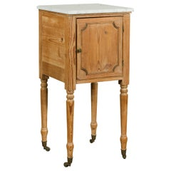 Petite English 1870s Pine End Table with White Marble-Top and Single Door
