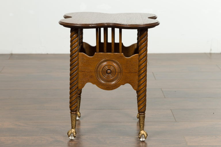 Petite English 1880s Oak Table with Twisted Legs, Gilt Claw and Glass Ball Feet For Sale 8