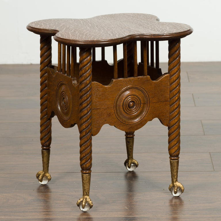 Petite English 1880s Oak Table with Twisted Legs, Gilt Claw and Glass Ball Feet In Good Condition For Sale In Atlanta, GA