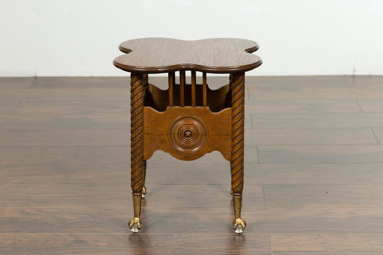 19th Century Petite English 1880s Oak Table with Twisted Legs, Gilt Claw and Glass Ball Feet For Sale