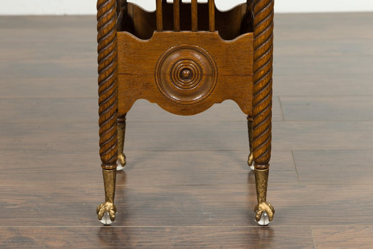 Petite English 1880s Oak Table with Twisted Legs, Gilt Claw and Glass Ball Feet For Sale 2