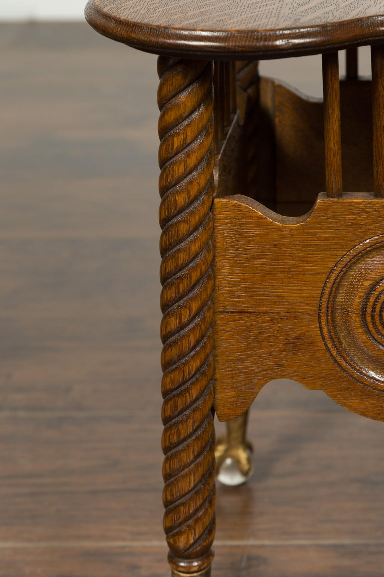 Petite English 1880s Oak Table with Twisted Legs, Gilt Claw and Glass Ball Feet For Sale 4