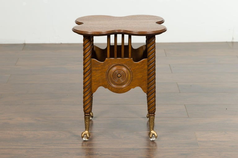 Petite English 1880s Oak Table with Twisted Legs, Gilt Claw and Glass Ball Feet For Sale 5