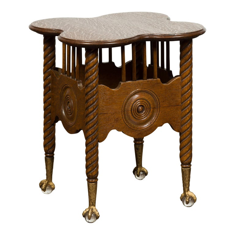 Petite English 1880s Oak Table with Twisted Legs, Gilt Claw and Glass Ball Feet For Sale