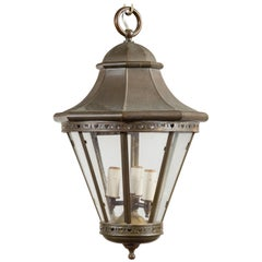 Petite English Turn of the Century Copper and Glass Lantern with Three Lights