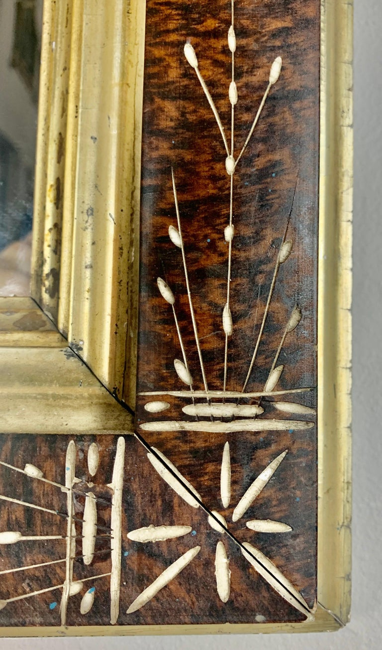 Inlay Petite English Wood Mirror with Giltwood Detail For Sale