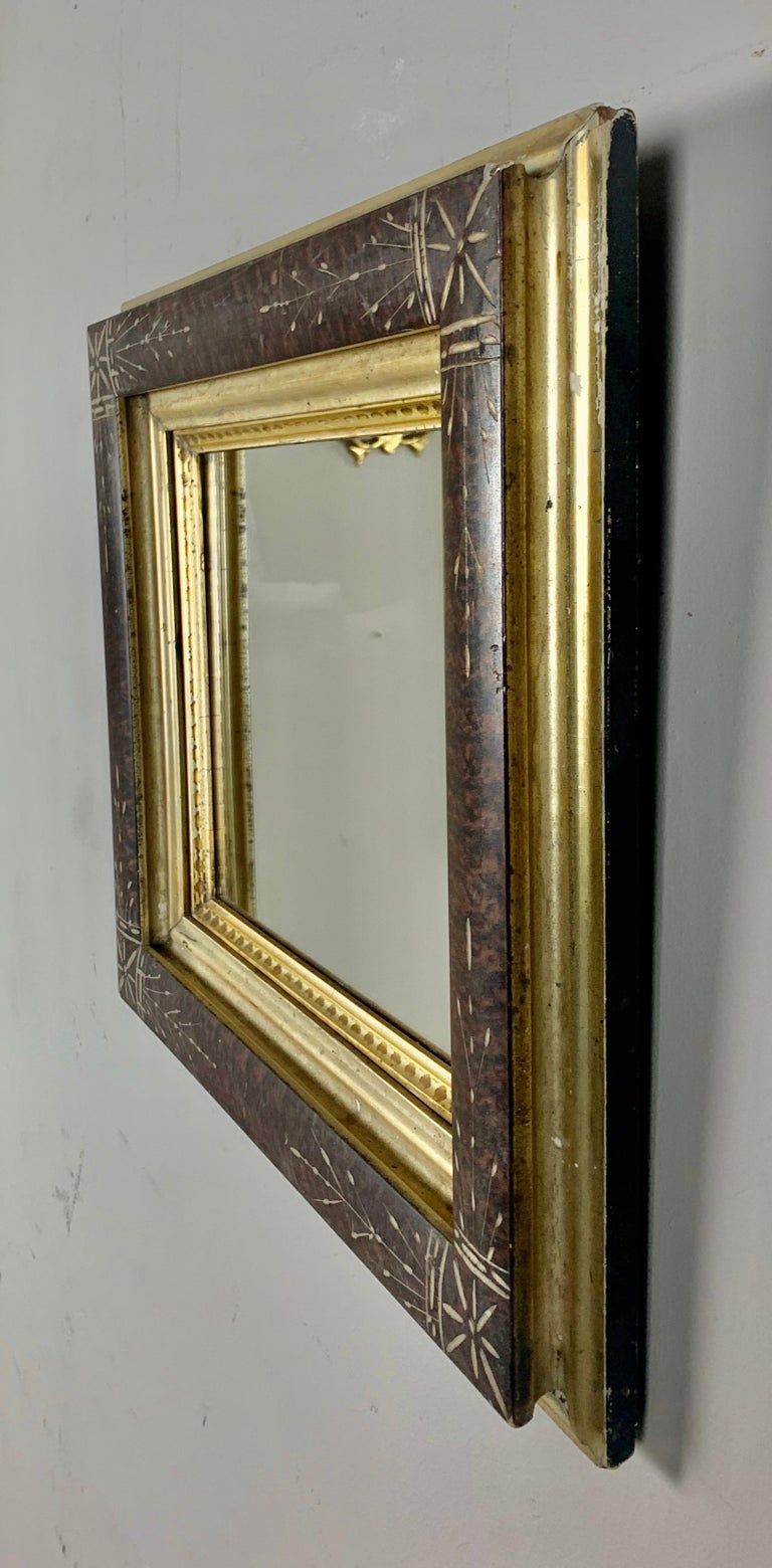 19th Century Petite English Wood Mirror with Giltwood Detail For Sale