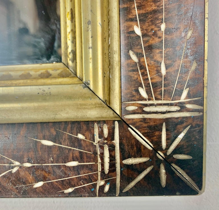 Petite English Wood Mirror with Giltwood Detail For Sale 1