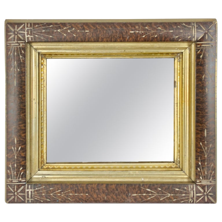 Petite English Wood Mirror with Giltwood Detail For Sale