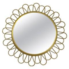 Petite Flower Power Starburst Sunburst Brass Mirror, circa 1960s