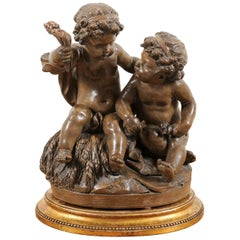 Petite French 1830s Louis-Philippe Terracotta Sculpture of Two Putti on a Base