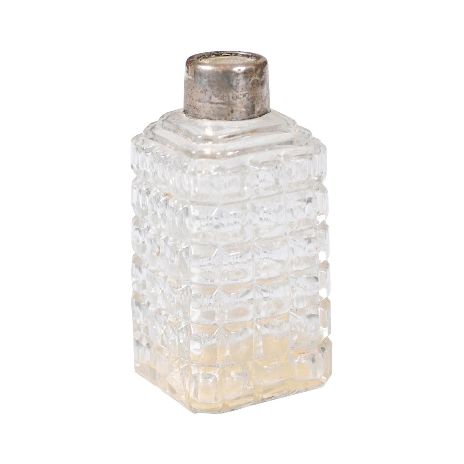 Petite French 1860s Napoleon III Period Crystal Toiletry Bottle with Silver Neck