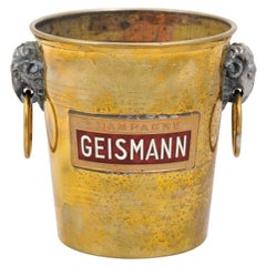Petite French 19th Century Brass Geismann Champagne Bucket with Rams' Heads