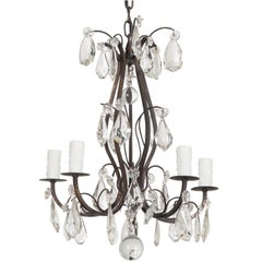 Petite French 19th Century Five-Light Crystal Chandelier