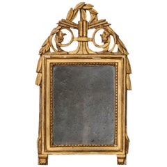 Petite French 19th Century Louis XVI Style Giltwood Mirror