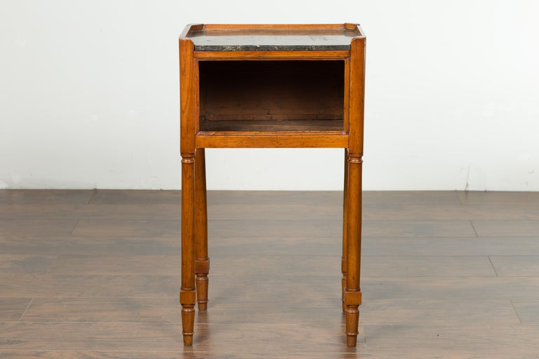 Petite French 19th Century Walnut Table with Open Shelf and Black Marble Top In Good Condition For Sale In Atlanta, GA