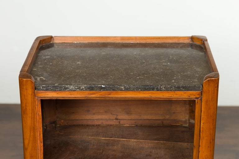Petite French 19th Century Walnut Table with Open Shelf and Black Marble Top For Sale 1