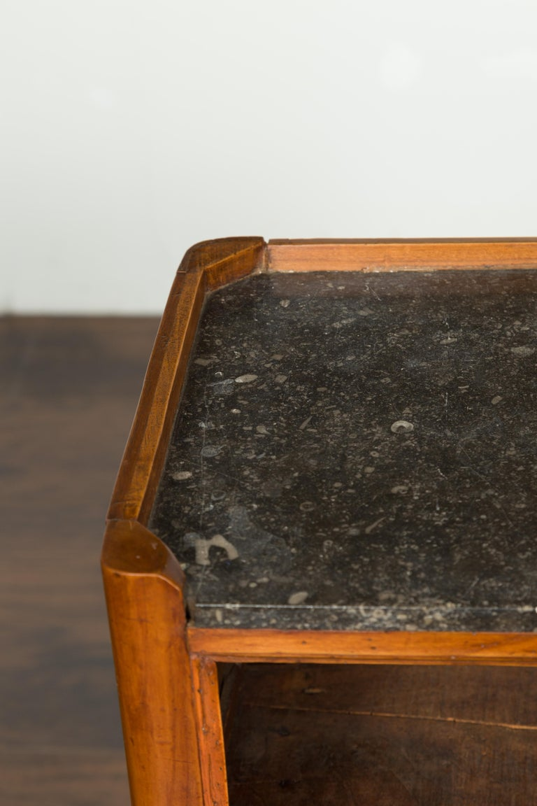 Petite French 19th Century Walnut Table with Open Shelf and Black Marble Top For Sale 2