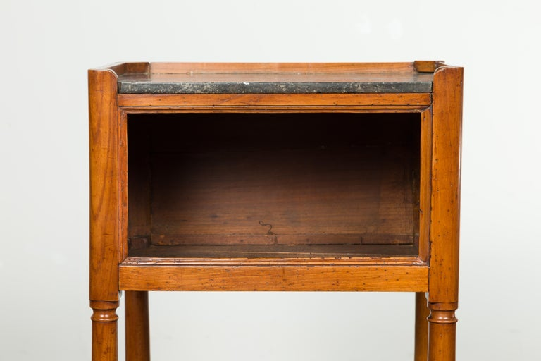 Petite French 19th Century Walnut Table with Open Shelf and Black Marble Top For Sale 3