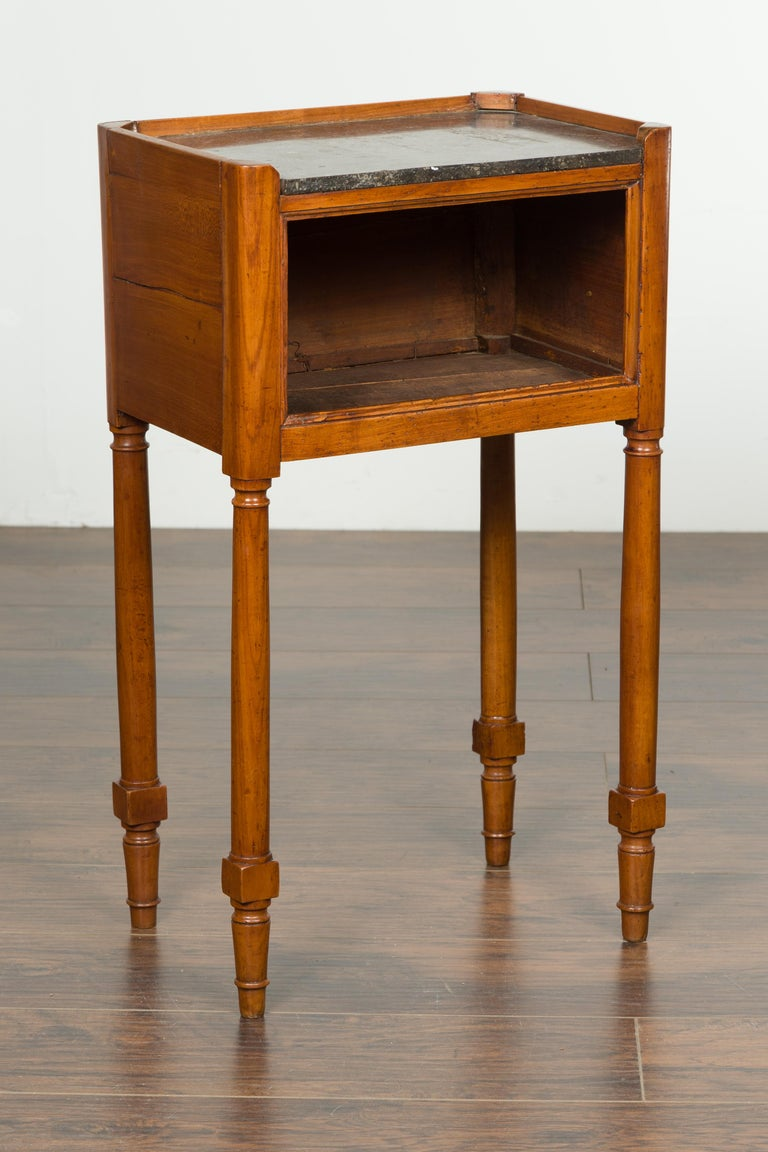 Petite French 19th Century Walnut Table with Open Shelf and Black Marble Top For Sale 6
