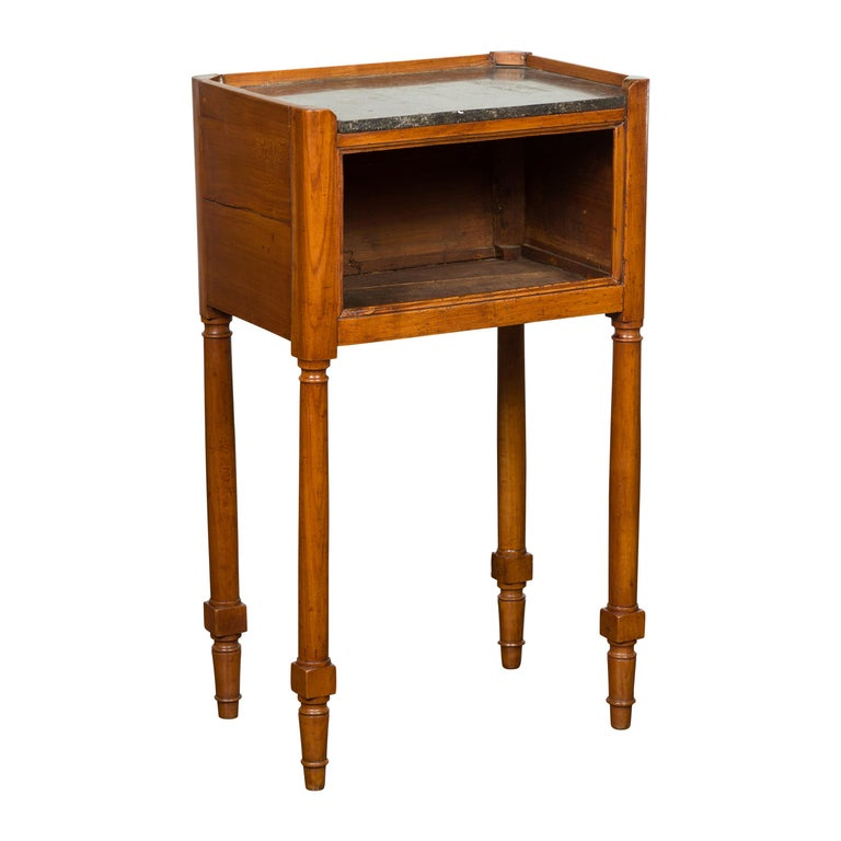 Petite French 19th Century Walnut Table with Open Shelf and Black Marble Top For Sale