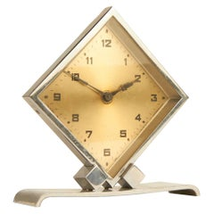 Petite French Art Deco Chrome Geometric Diamond Shaped Desk Clock